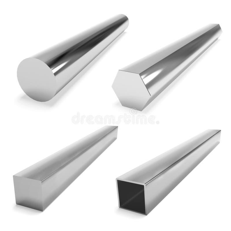 Vier roestvrij staalblokken op het wit stock illustratie