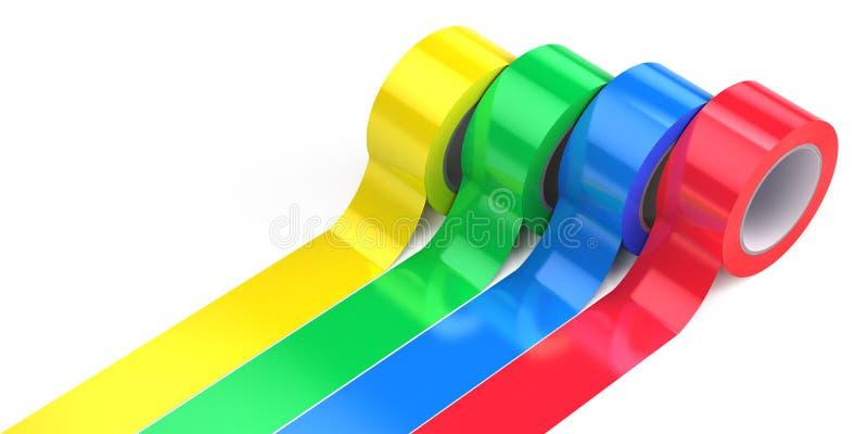 Vier Rollen farbiger Klebstreifen stock abbildung