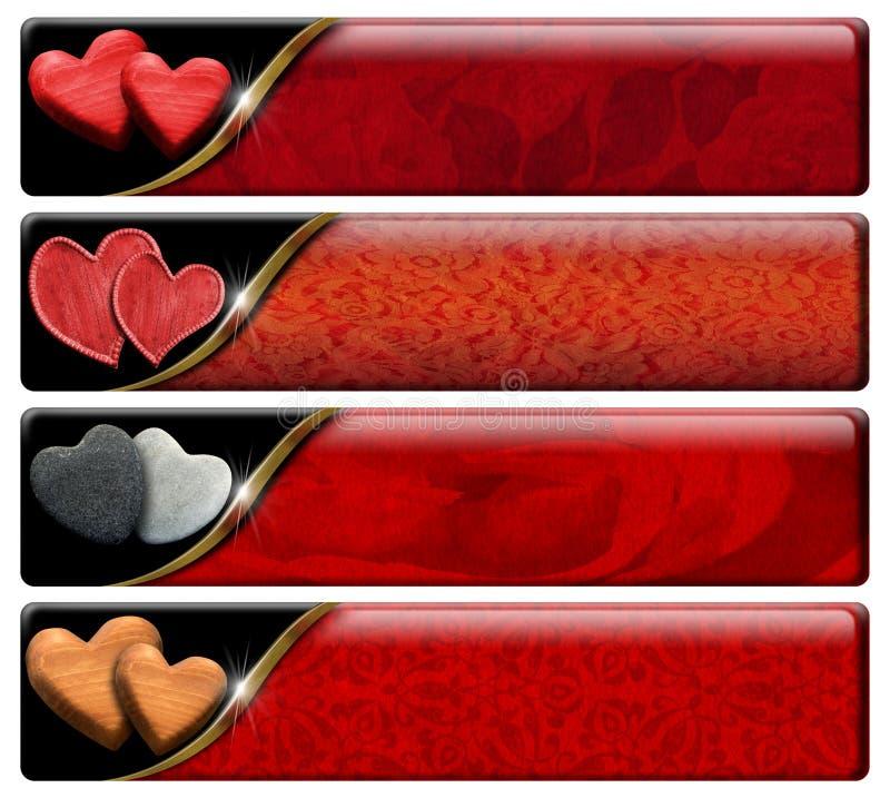 Vier Romantische Kopballen met het knippen van weg royalty-vrije illustratie