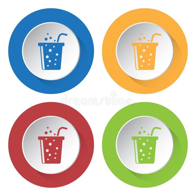 Vier ronde kleurenpictogrammen, sprankelend drank en stro royalty-vrije illustratie