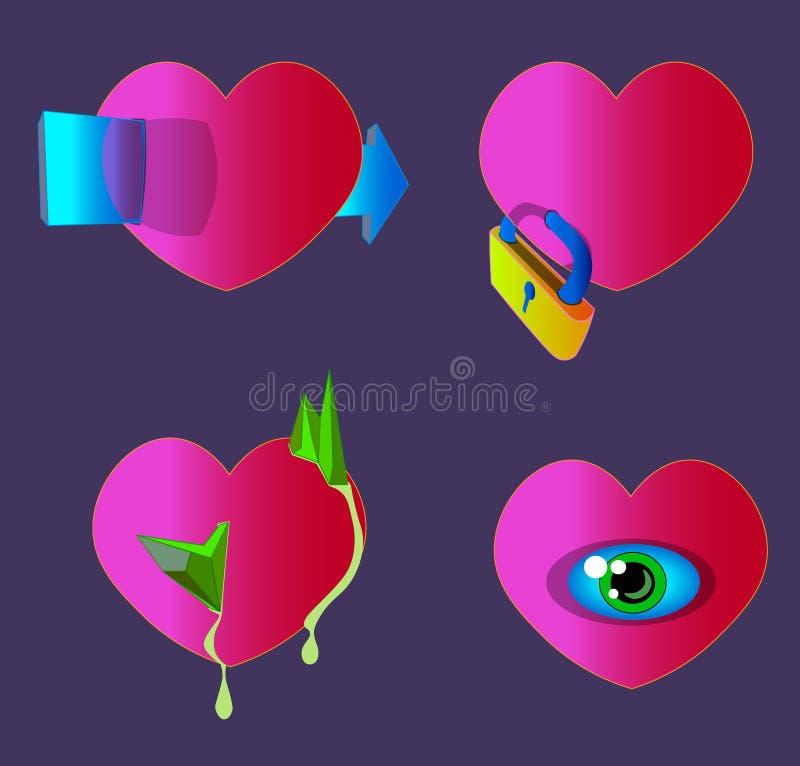 Vier rote Herzen mit ihren eigenen Eigenschaften vektor abbildung