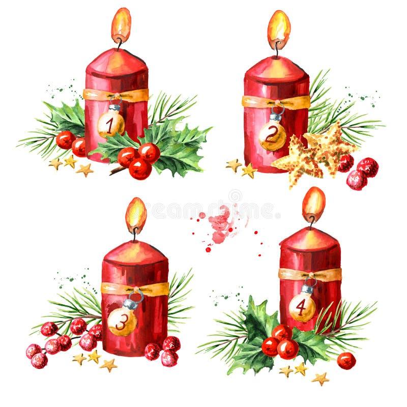Vier rote Kerzen der Einführung Weihnachtsmit Dekorationssatz Viertes Aufkommen Aquarellhandgezogene Illustration lokalisiert auf lizenzfreie abbildung