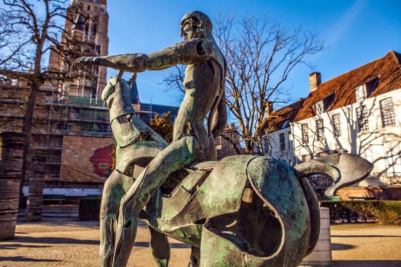 Vier ruiters van Apocalypsstandbeeld in Brugge, België stock foto