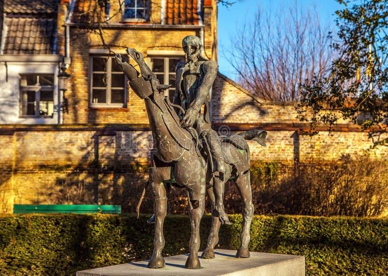 Vier ruiters van Apocalypsstandbeeld in Brugge, België royalty-vrije stock afbeeldingen