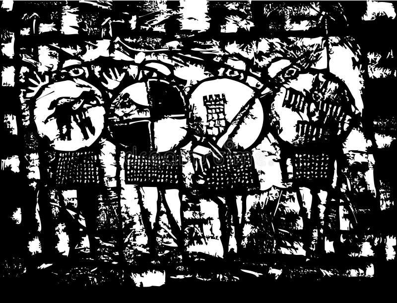 Vier sächsische Ritter lizenzfreie abbildung