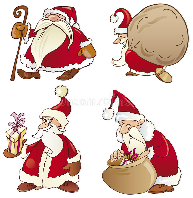Vier santas stock illustratie