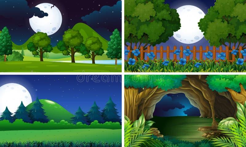 Vier scènes van park bij nacht stock illustratie
