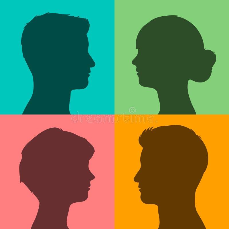 Vier Schattenbilder von Köpfen auf farbigem Hintergrund lizenzfreie abbildung