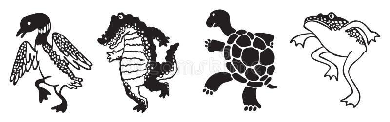 Vier Schattenbildsumpfgebiettiere, die in Parade treten lizenzfreie abbildung