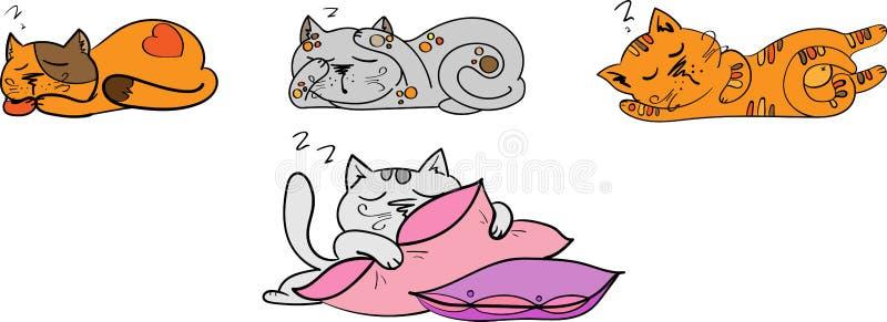 Vier Schlafkatzen eingestellt vektor abbildung