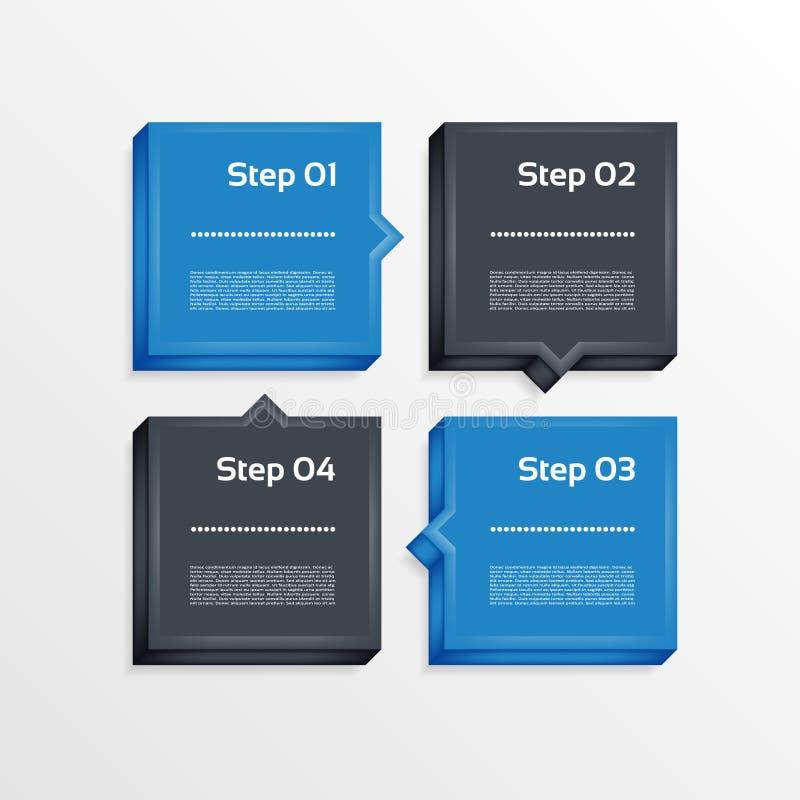 Vier Schritte verarbeiten Pfeile - Gestaltungselement Vektor vektor abbildung