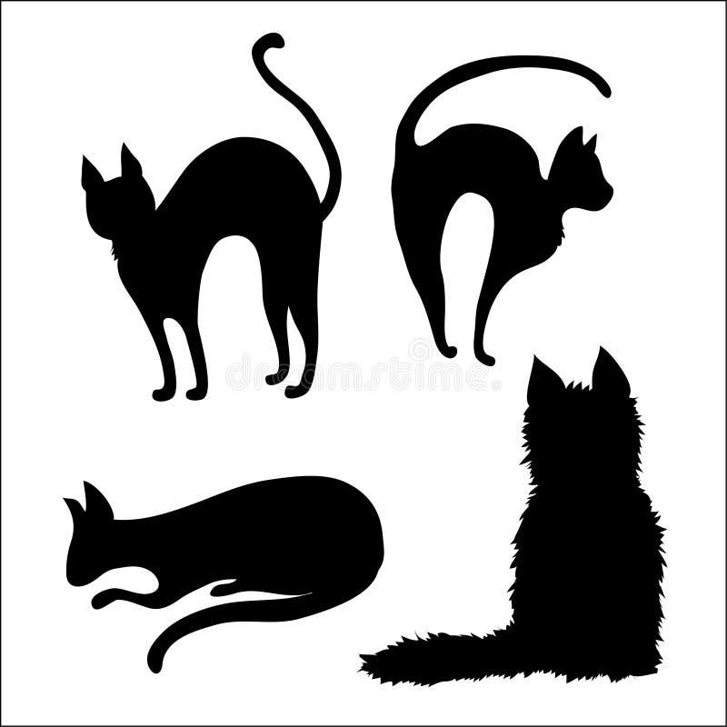 Vier schwarze Katzen des Vektors lizenzfreie abbildung