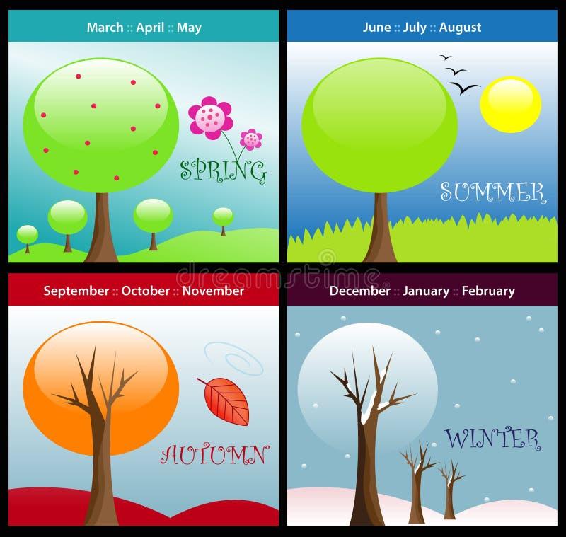 Vier seizoenen stock illustratie