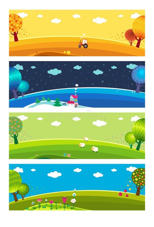 Vier seizoenen. stock illustratie