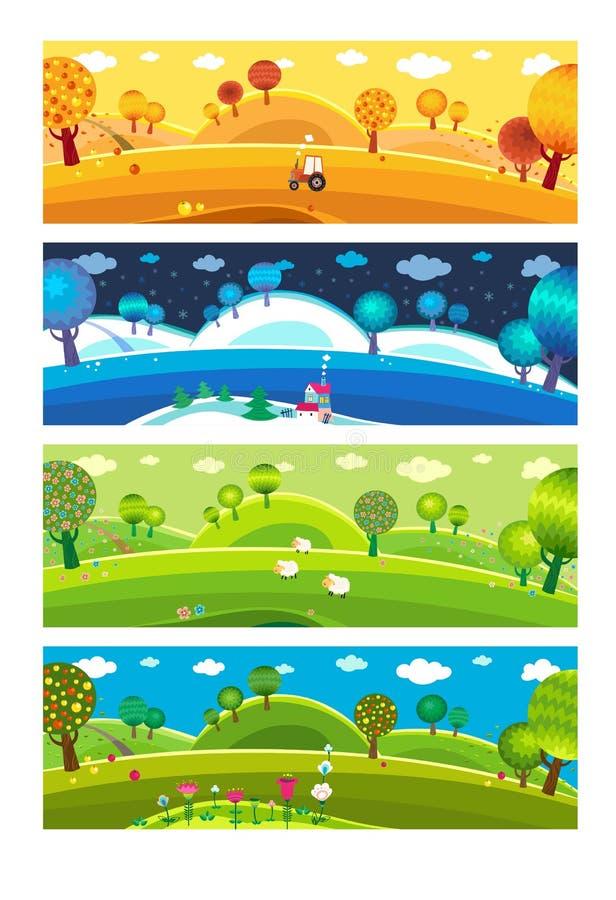 Vier seizoenen. vector illustratie