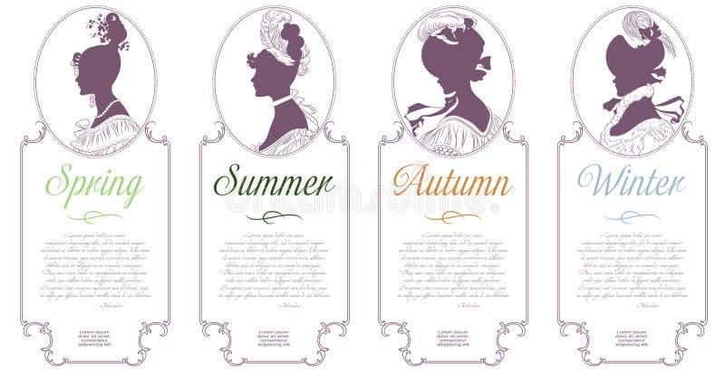 Vier seizoenen De lente, de Zomer, de Herfst, de Winter Vrouwelijke kamee voor ontwerp royalty-vrije illustratie