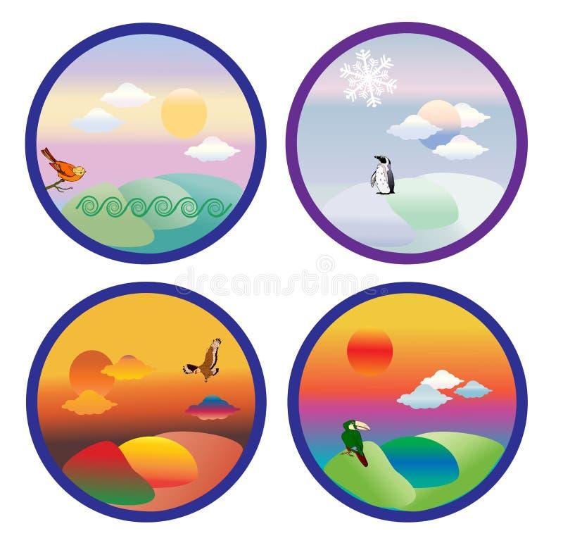 Vier seizoenen geplaatst pictogram vector illustratie