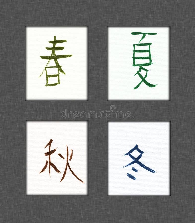 Vier Seizoenen Kanji stock illustratie