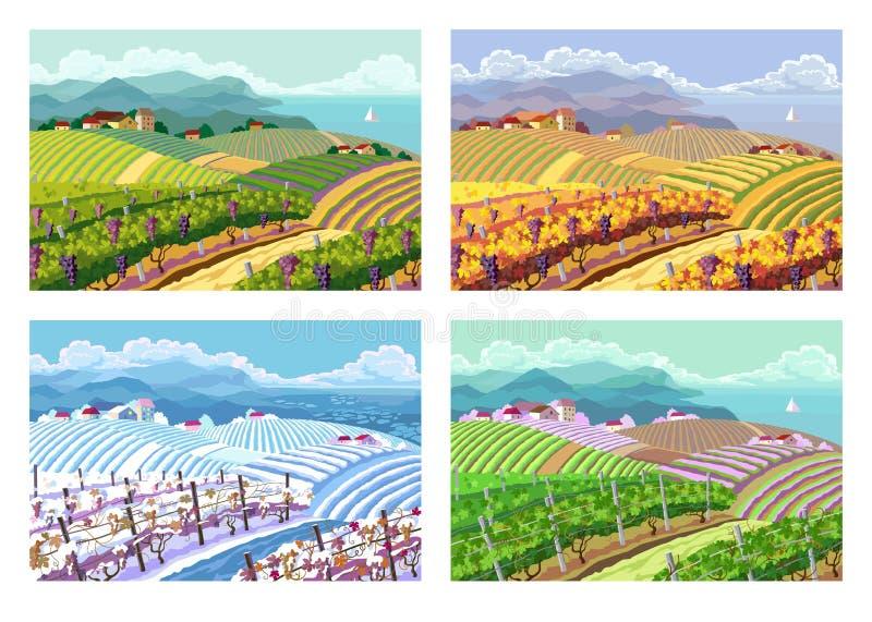 Vier seizoenen Landelijke landschappen stock illustratie