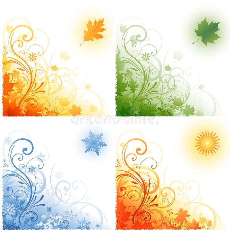 Vier seizoenenachtergrond stock illustratie