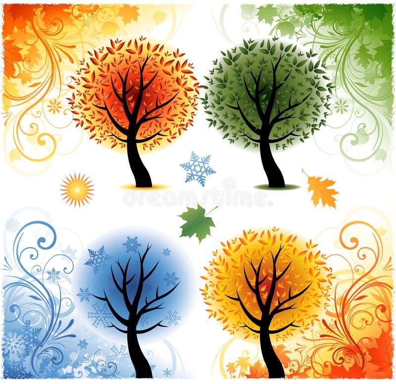 Vier seizoenenachtergrond royalty-vrije illustratie