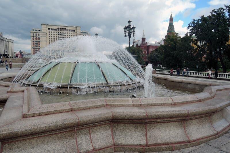 Vier seizoenenhotel in de Vierkante, bloeiende bloemen van Moskou en van Manege stock fotografie
