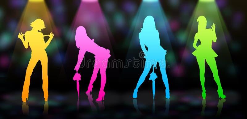 Vier sexy modellen in nachtclub stock illustratie