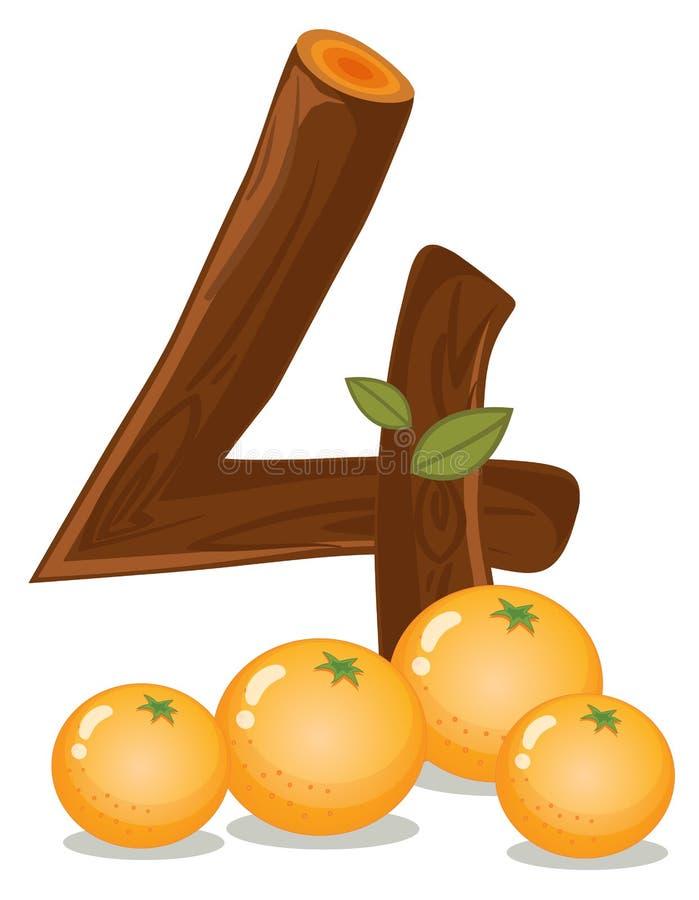 Vier sinaasappelen stock illustratie
