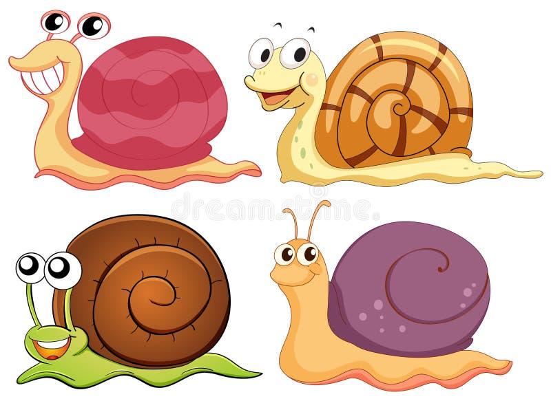 Vier slakken met verschillende shells stock illustratie
