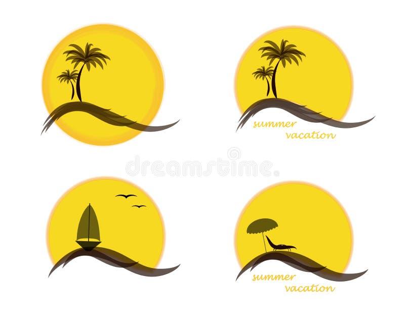 Vier-Sommer-Logo mit Sonne, Palmen, Ozean oder Meer, Segelschiff und Strand, Vektorillustration lokalisiert auf Weiß stock abbildung