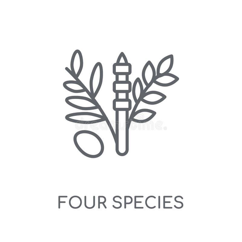 Vier Species lineair pictogram Modern overzicht Vier conce van het Speciesembleem royalty-vrije illustratie