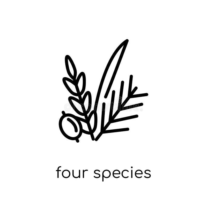 Vier Speciespictogram In moderne vlakke lineaire vector Vier Species royalty-vrije illustratie