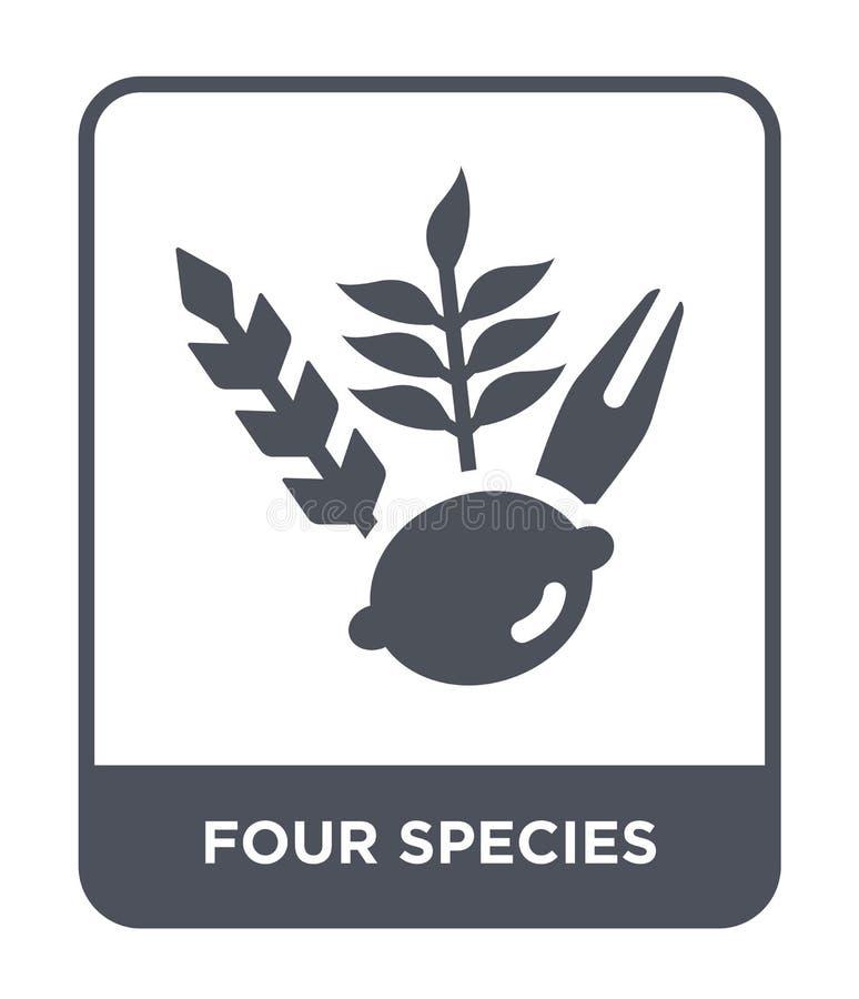 vier speciespictogram in in ontwerpstijl vier speciespictogram dat op witte achtergrond wordt geïsoleerd vier eenvoudig species v stock illustratie