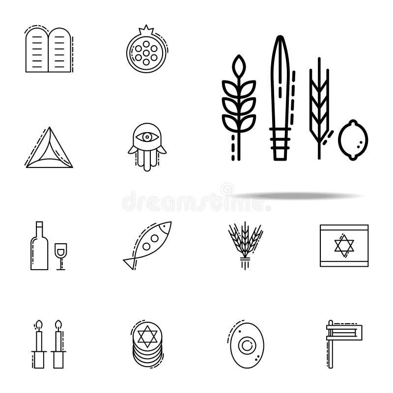 Vier Speciespictogram Voor Web wordt geplaatst dat en het mobiele algemene begrip van judaïsmepictogrammen stock illustratie