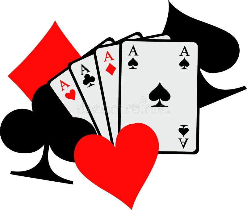 Vier Spielkarten der Asse mit großen Pokerikonenspaten-Herzdiamanten schlägt mit einer Keule stock abbildung