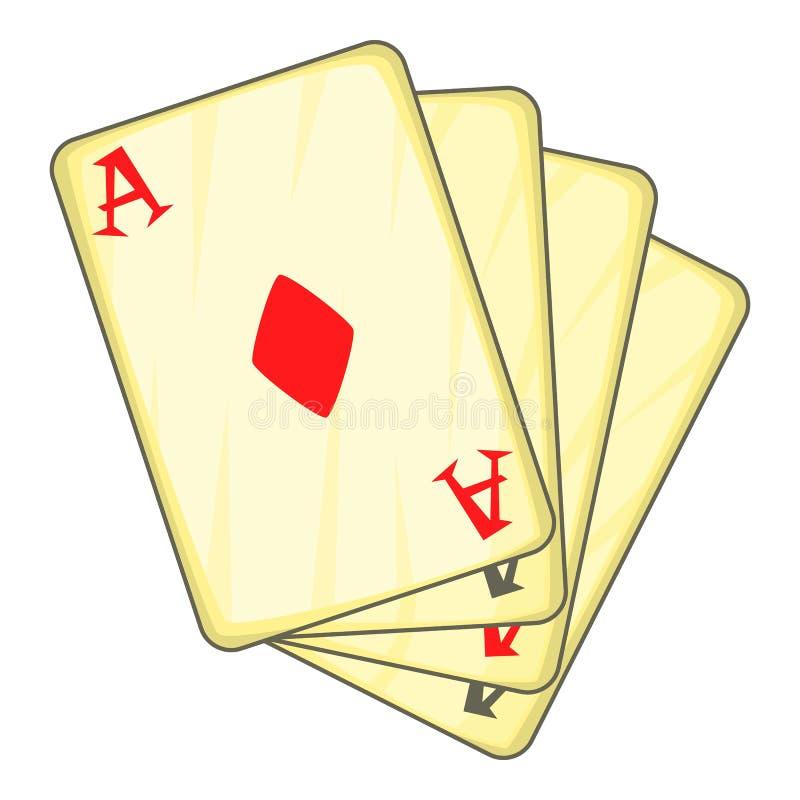 Vier Spielkarten Ikone, Karikaturart der Asse stock abbildung