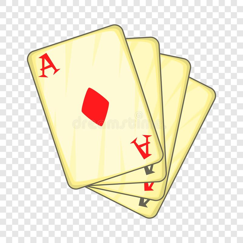 Vier Spielkarten Ikone, Karikaturart der Asse lizenzfreie abbildung