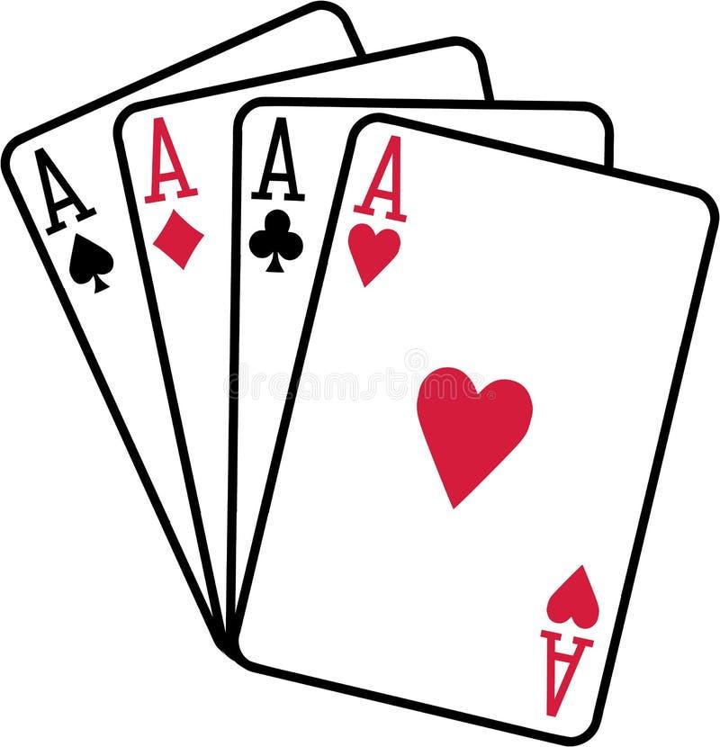Vier Spielkartespatenherz-Diamantclubs der Asse lizenzfreie abbildung