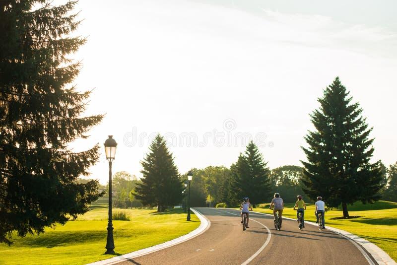 Vier sportliche Freunde, die draußen radfahren lizenzfreies stockbild