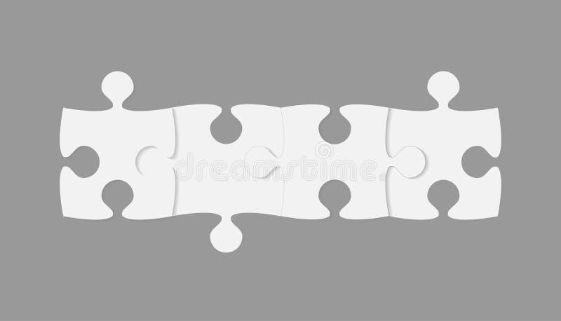 Vier Stücke Puzzlespiel-Fahnen- 4 Schritt-Laubsäge vektor abbildung