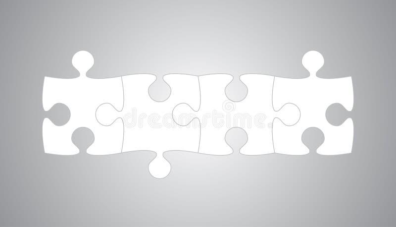 Vier Stücke Puzzlespiel-Gegenstand-Fahnen- 4 Schritte zackig vektor abbildung