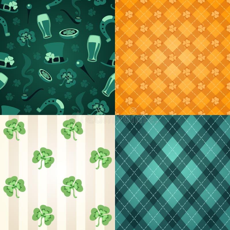 Vier st. De patronen van de Dag van Patrick stock illustratie