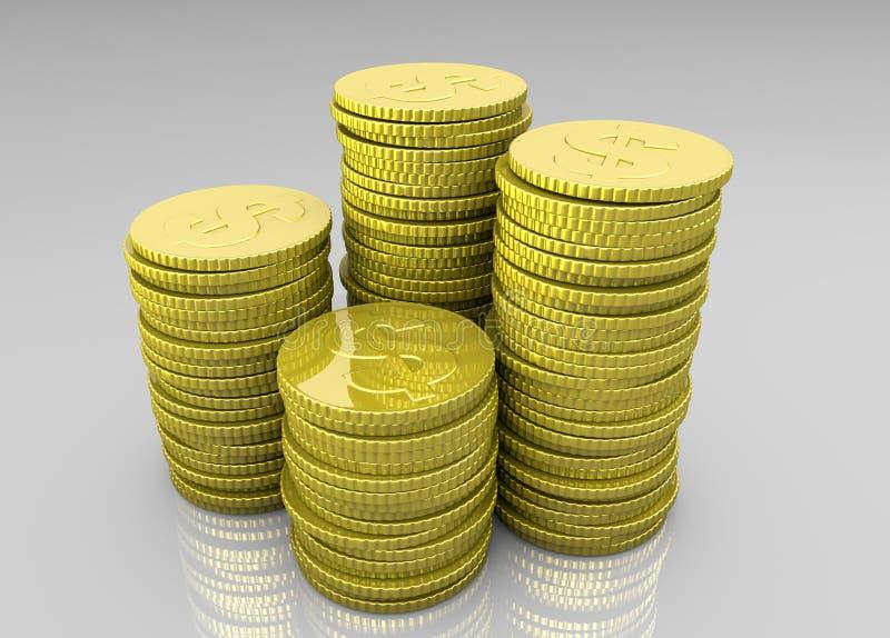Vier stapels muntstukken stock illustratie
