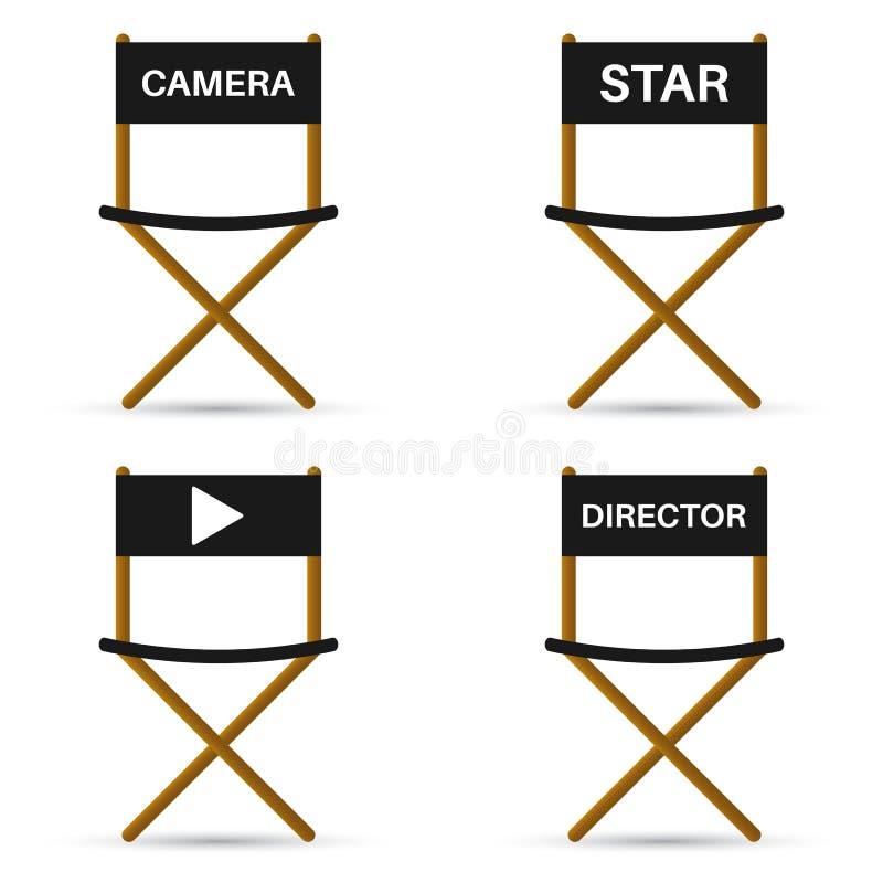 Vier stoelen voor directeur, camera, ster en symbool Vectorillust vector illustratie