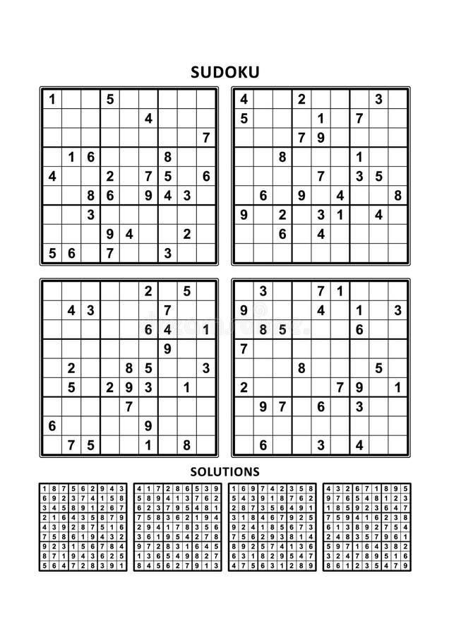 Vier sudoku Spiele mit Antworten lizenzfreie abbildung