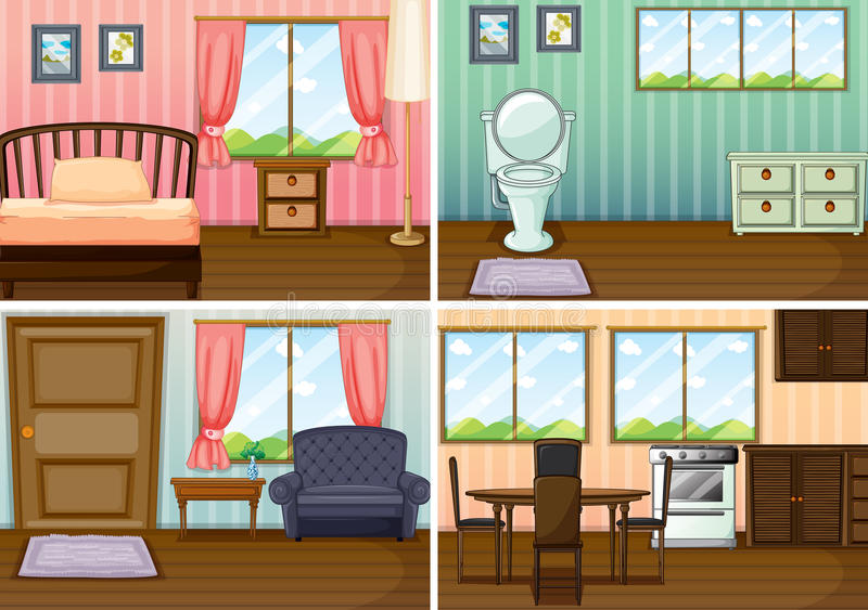 Vier Szenen von Räumen im Haus stock abbildung