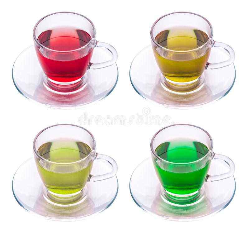 Vier Tassen Tee lizenzfreie stockbilder