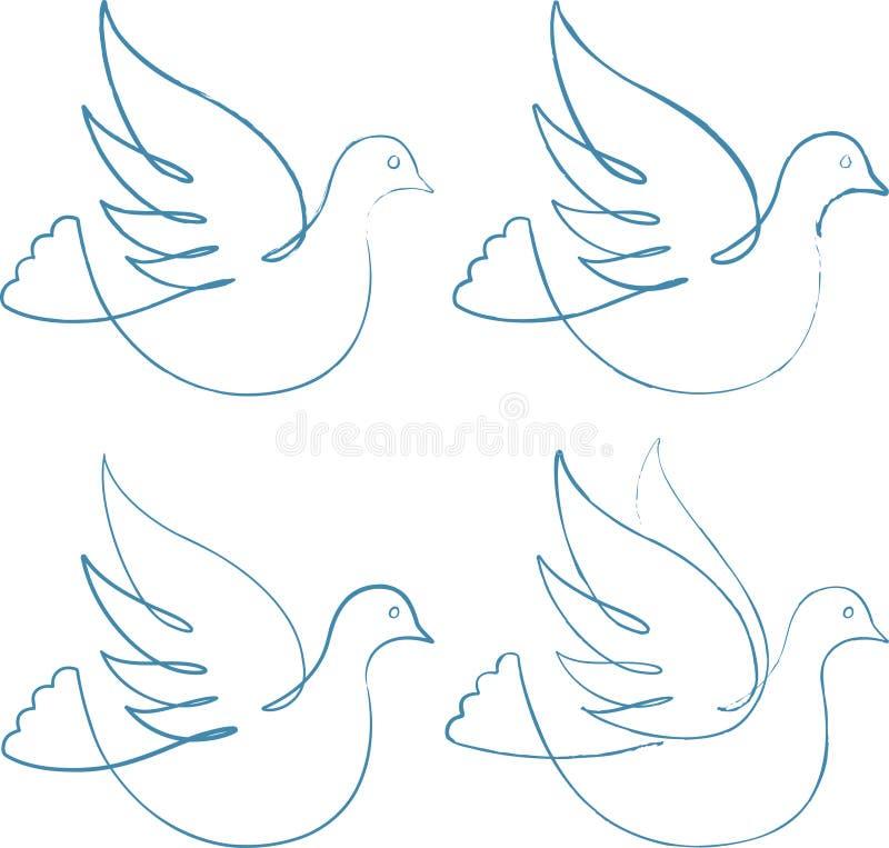 Vier Tauben lizenzfreie abbildung