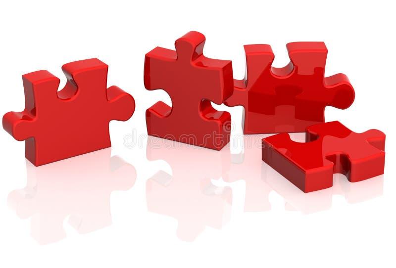 Vier Teile eines Puzzlespiels lizenzfreie abbildung
