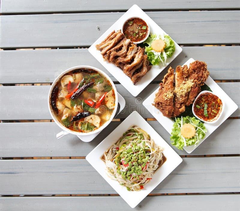 Vier Thais Voedselmenu en ruimte voor woord stock foto
